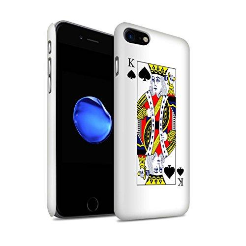 STUFF4 Matte Snap-On Hülle / Case für Apple iPhone 8 Plus / Herz-Ass Muster / Kartenspielen Kollektion Pik-König