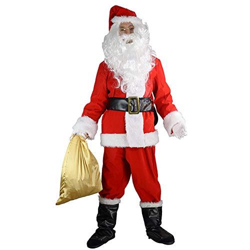 Schuhe Mime Kostüm - MIMI KING Santa Claus Kostüm Anzug 10PC, Weihnachts-Erwachsenen-Cosplay-Tuch Mit Hut, Brille, Schnurrbart, Perücke, Handschuhe, Goldene Geschenktasche,XXL
