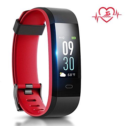 Fitness Armband Uhr mit Herzfrequenz,Chianruey Farbdisplay Fitness Tracker mit Pulsmesser,Aktivitätstracker mit Schlafüberwachung,Wasserdicht IP68 Fitness fitnessuhr mit Schrittzähler,Bluetooth Kalorienzähler Vibrationsalarm Anruf SMS Whatsapp für Damen/Herren (Schwarz/Rot)