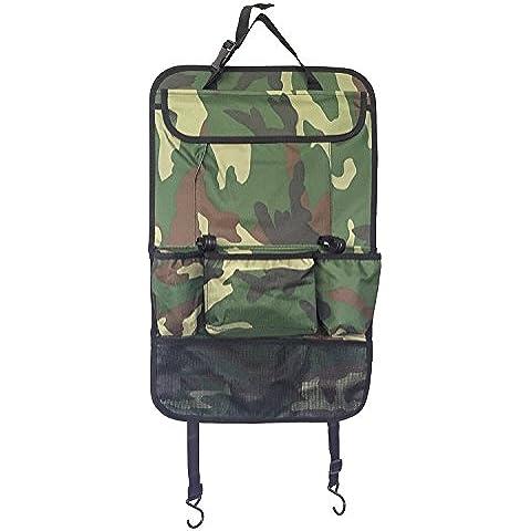 Creation® auto sedile posteriore dell'organizzatore, multi-tasca borsa da viaggio bagagli, sacchetto di rifiuti per i giocattoli, snack, lattine, le bevande (camuffamento verde)