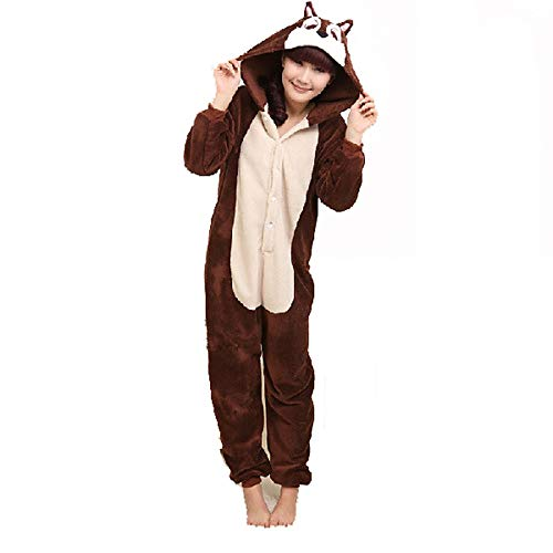 DUKUNKUN Erwachsene Pyjamas Maus/Streifenhörnchen Pyjama Kostüm Korallen Fleece Braun Cosplay Für Tier Nachtwäsche Cartoon Halloween Festival/Urlaub,L (Braun Maus Kostüm Kostüm)