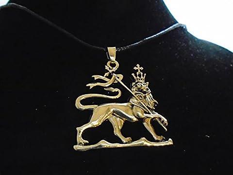 large fine BRONZE RASTA LION OF JUDAH , brass pendant