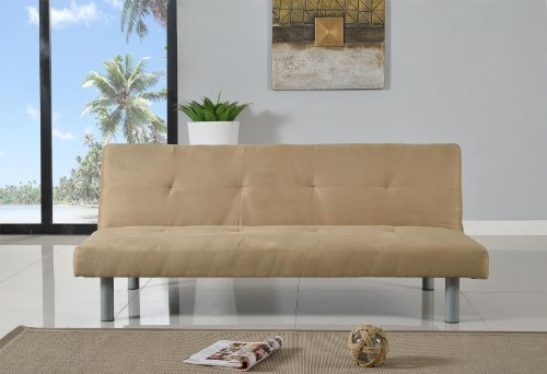 Faux Suede 3 Seater Quality Sofa Bed Click Clac Fabric Sofabed In Cream