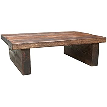Good Funky Chunky Furniture Rustic Chunky Wood 2 Leg 2in Top Coffee Table , Teak  , 100cm