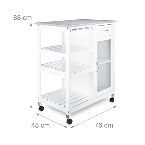 Relaxdays carrito de cocina con 4 ruedas y 3 estantes for Carrito de cocina con ruedas