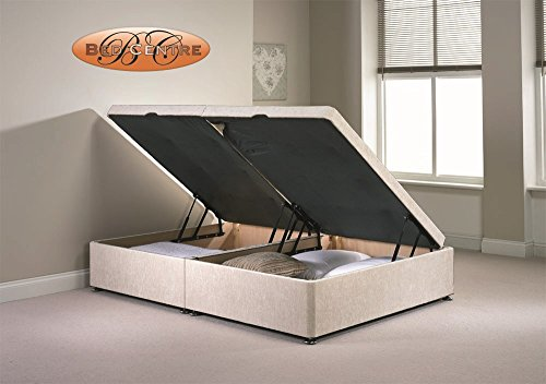 Divan Ottoman Side Lift Storage Bed Single 4'6 Double 5ft King Size Chenille (4FT6 Double, Cream)