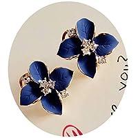 HuntGold 1Pair Flower Earring Fashion Women Ladies Rhinestone Ear Stud Earring(blue)