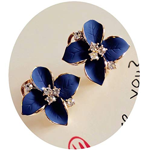 HuntGold 1 Paar Blumen Ohrring Fashion Frauen Damen Strass Ohrstecker Ohrring (blau)