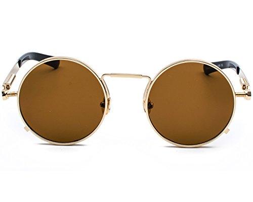 Red Peony Runde Steampunk Polarisierte Sonnenbrille Metall Rand Rahmen Flip up Linse für Herren Damen UV400 (C/Gold/Braun, Nicht polarisiert)