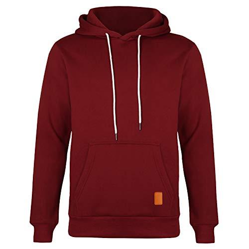 Lantch Herren Kapuzenpullover Sweatjacke Pullover Hoodie Sweatshirt Langarm Herbst Winter Casual Top Bluse(Weinrot-m)