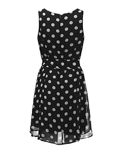 StyleDome Femme Vintage Mousseline Robe à Point Col Rond Sans Manches à Bretelle Casual Mini Robe de Cocktail Soirée Noir 2