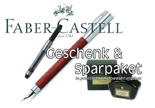 Faber Castell AMBITION Birnbaum Füllfederhalter Stärke M + Konverter + Tintenglas Royalblau |...