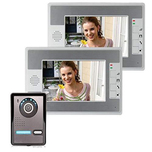 WAZA Videoportero para puerta, interfono de 7 pulgadas, 2 monitores y