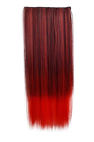 PRETTYSHOP 5 Clips 25cm x 60cm 120g One Piece Clip in Extensions Haarverlängerung Hiztebeständig Bunt Gewellt oder Glatt Diverse Farben (Hair Extensions Kostüm)