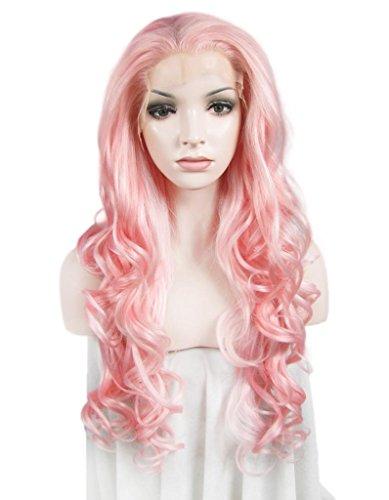 imstyle Kunsthaar Lang Wasser gewellt Lolita Kostüme Pink Farbe Kim Kardashian Kunsthaar-Perücke Spitze vorne Günstigen Preis (Perücken Preise)