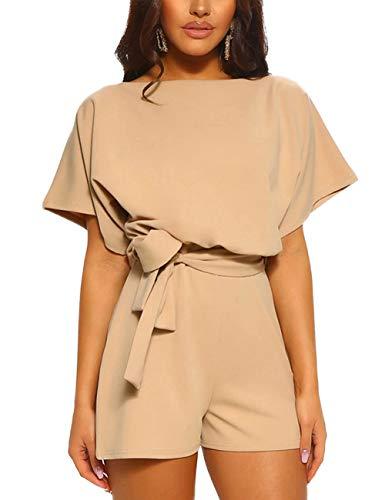 944ba7ee319e FeelinGirl Mono Corto para Mujer de Talle Alto Escote Traje de Pantalón  Suelto con Cinturilla Caqui XL