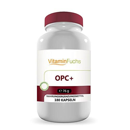 OPC Plus mit 180 Kapseln Hochwertiger Traubenkernextrakt, Oligomere Proanthocyanidine wasserlöslich für eine optimale Aufnahme. OPC Plus von VitaminFuchs