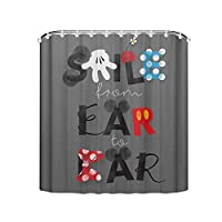 Muccum Mickey Mouse Smile From Ear To Ear Curtain Waterproof Mould Proof Resistant Bathroom Curtain Washable Bath Curtain Polyester Fabric 3D Shower Curtains for Bathroom 180x180cm ...