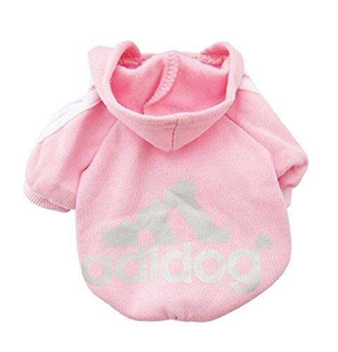 Adidog - Vestito per cani, maglioncino, cappottino, felpa calda con cappuccio, in velluto, magliette per cuccioli