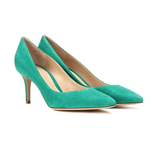 EDEFS - Escarpins Femme - 6 cm Kitten-Heel Chaussures - Bout Pointu Fermé - Classique Bureau Soiree Shoes Turquoise
