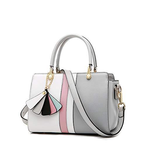 tasche Große Tasche Retro Tote Handtaschen Mode Weibliche Umhängetasche Frauen Casual Handtasche Schulter-Handtasche (Color : Gray with White) ()