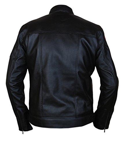F&H Men's Racing Stripes Cafe Racer Jacket Black