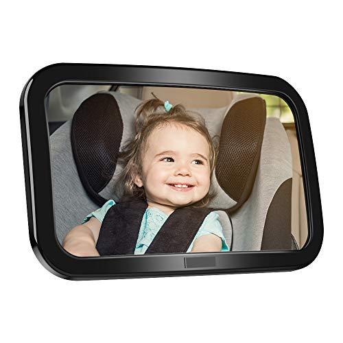 Rücksitzspiegel für Babys, opamoo Bruchsicherer Autospiegel mit großem Sichtfeld 360°schwenkbar Spiegel Auto Baby Universeller Rücksitzspiegel Baby Spiegel ohne Einzelteile/Schrauben