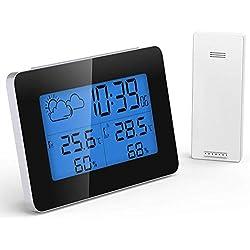 GlobaLink Thermomètre Hygromètre Numérique,Station Météo Thermomètre Interieur Exterieur Horloge de Météo avec Température Humidité Baromètre Alarme Horloge Météo