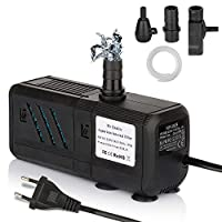 Mr Quality Aquarium Pump-1500L/H Lift 1.6M Submersible Water Pump with 1.4M Power Cord and 2 Nozzles Safe and Stable 15W (6w filterpump)