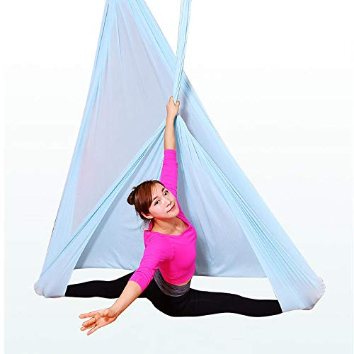 NFNFUNNM Fallschirmtuch Yoga Hängematte Luft Yoga Hängematte Indoor Fallschirmtuch Hängematte Hochwertige Yoga Studio Air (Blau 5 * 2,8 M) (Blaue 5 Studio 5)