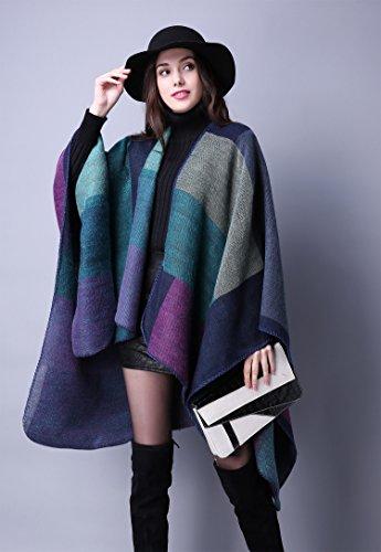 KorMei - Elegante poncho invernale da donna, in tartan lavorato a maglia, motivo a quadretti, utile come mantellina o scialle Blue
