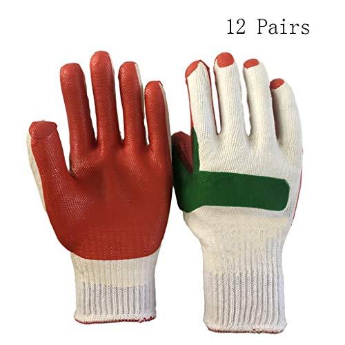 LWWOZL 12Pairs Gloves Labour Insurance Site rutschfeste, schnittfeste Gummi-Industrie-Gummihandschuhe  Gummihandschuhe  Größe L Arbeitshandschuhe
