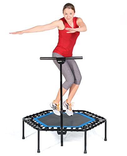 SportPlus Fitness Trampolin, Bungee-Seil-System, Ø 110 cm, bis 130 kg Benutzergewicht, TÜV Süd Sicherheit geprüft, blau - 7