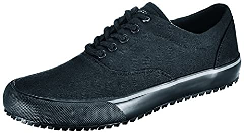 Shoes for Crews 6046-40/6.5/7.5 Shoes, SARATOGA CANVAS, Slip Resistant, 6.5, Black
