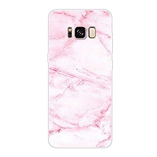 Aksuo for Samsung Galaxy S8 Case,Women Girls boy Men Printed Transparent Clear Design Plastic Case with TPU Bumper Protective Cover,Pink Marble