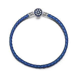 NINAQUEEN Damen Charm Bracelet 925 Sterling Silber 19 cm Blaues Lederarmband mit Festem Charm, Weihnachtsgeschenke, Kommt in Geschenkbox, Nickelfrei Bestanden SGS Test