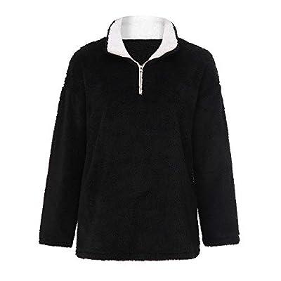 VECDY Frauen Pullover,Schwarzer Freitag Herbst und Winter Damen Frauen warme Flauschige Winter Feste beiläufige Zip Up Sweatshirt Pullover Outwear Plüsch-Pullover Hoodis Bluse Tops