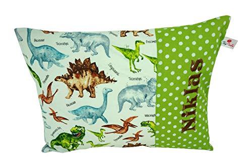 "TryPinky® Handmade Kissenbezug 30 X 40 cm\"" Dinos Grün\"" mit Name Namensstick Kinderkissen Namenskissen 100{c7ee8285b1d01b1d3a42f6ddef1f6687a70808bd97090e43a42a56254ee845e3} Baumwolle Dino"