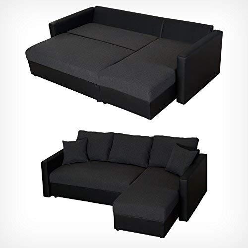 DRULINE XL Sofa Anthrazit mit Schlaffunktion Ecksofa Schlafsofa Couch Polstereck Sofabett