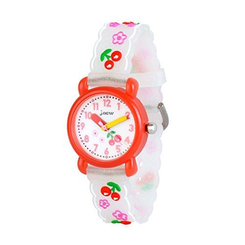 Wolfteeth Grundschule Mädchen analoge Armbanduhr wasserdicht Sportuhr Schule Tag Christmmas Geschenk Einzigartige Transparenz Armband Weiß Kirsche 308307