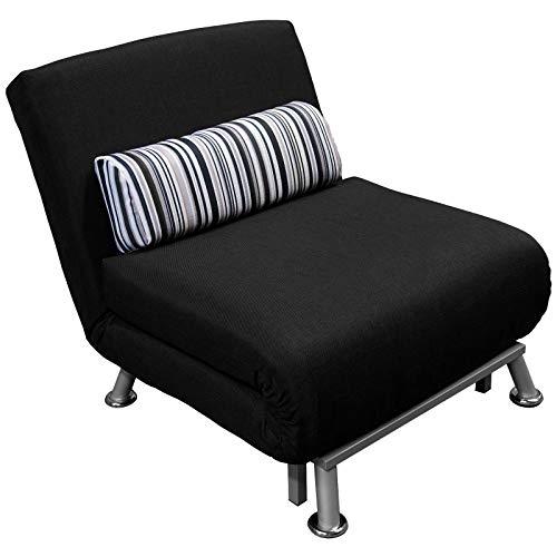 Eglemtek divano poltrona letto reclinabile in ferro e cotone tessuto con cuscino a righe 75 x 70 x 75cm nero