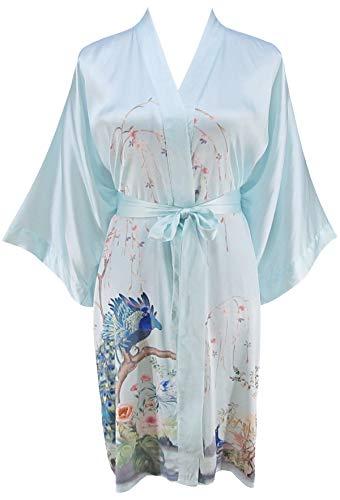 Ledamon Damen 100% seide kimono kurzmantel - klassische handbemalte reine seide robe freie größe hellblau -