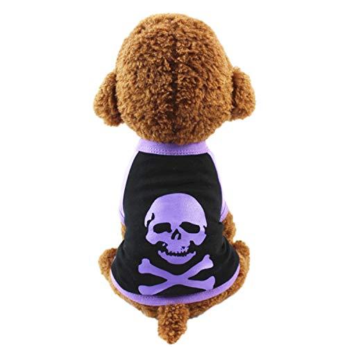 Neodot Pet Hund Halloween Kleidung Hund Baumwolle Kostüm mit Skelett Design Haustier Kleidung für Kleine Medium Große Hunde, L, Violett