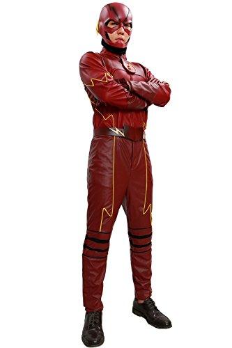 Herren Cosplay Kostüm Superhero Deluxe Outfit Rot Pu Leder Outfit Verrückte Kleidung für Erwachsene Halloween Zubehör