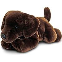 Keel Toys Animale di peluche Cane Labrador cioccolato, animale da coccolare sdraiato di 30 cm circa insieme al burro per il corpo, 7ml