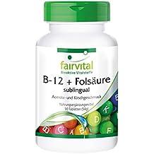 B-12 sublingual con ácido fólico - Bote para 3 meses - VEGANO - 90