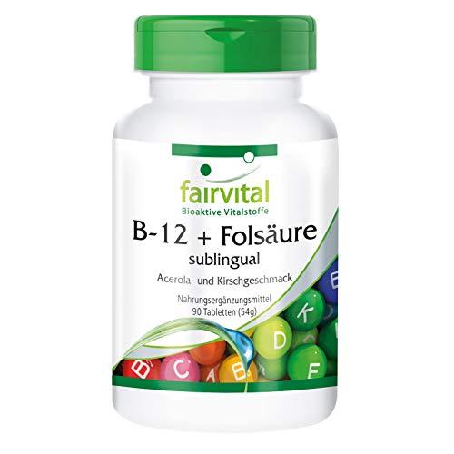 B-12 und Folsäure sublingual - GROSSPACKUNG - VEGAN - 90 Tabletten - rasche Aufnahme über die Mundschleimhaut
