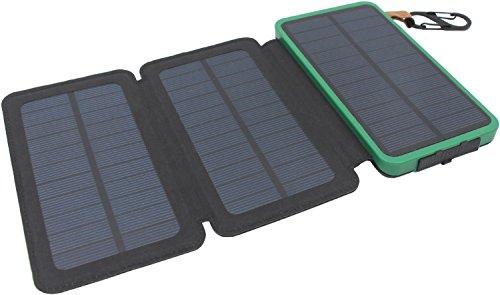 Caricabatterie solare, itscool powerbank solare 12000mah 9 led luci 3 pannelli 2 usb impermeabili per cellulari e tutti i dispositivi da 5v