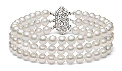 14K Or Blanc Triple brins Blanc japonais Bracelet Perle de culture Akoya, 19,1cm