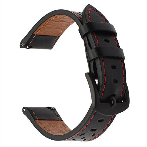 TRUMiRR Armband kompatibel Für Galaxy Watch Active2/Galaxy Watch 42mm/Garmin Vivoactive 3 Armband, 20mm Italien Echtes Leder Armband Quick Release Uhrenarmband für Ticwatch E, Huawei Watch 2 -